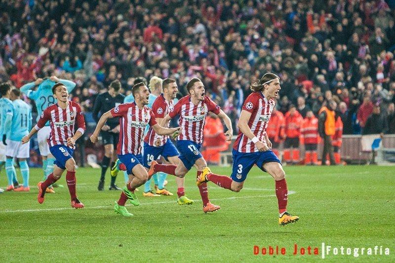 Atletico de Madrid celebrando su pase a la final